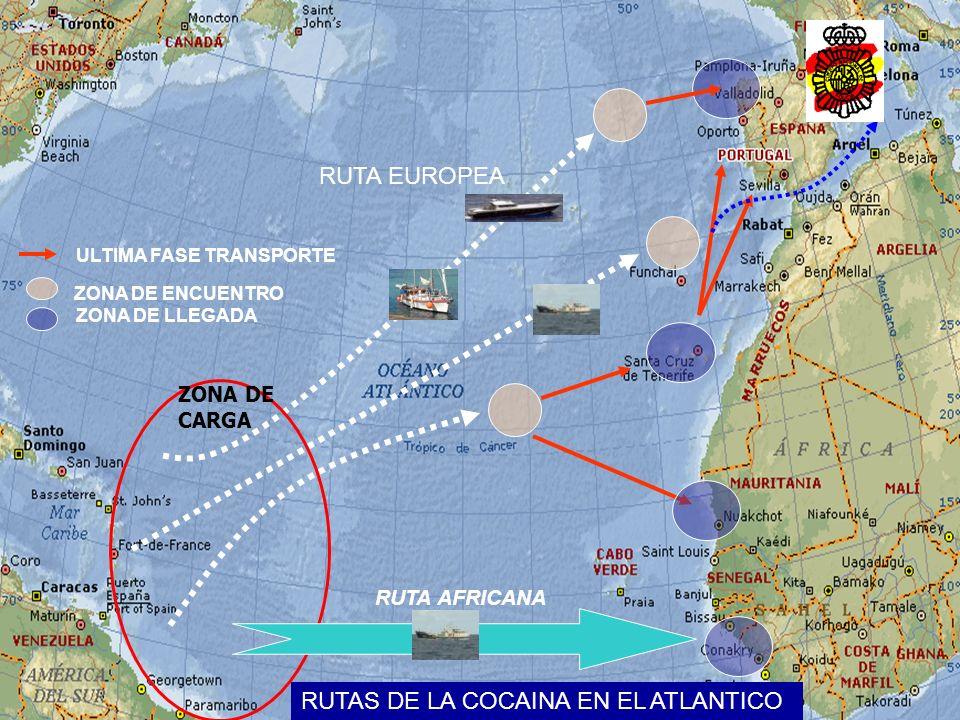 ZONA DE ENCUENTRO ZONA DE LLEGADA RUTAS DE LA COCAINA EN EL ATLANTICO ZONA DE CARGA RUTA AFRICANA RUTA EUROPEA ULTIMA FASE TRANSPORTE