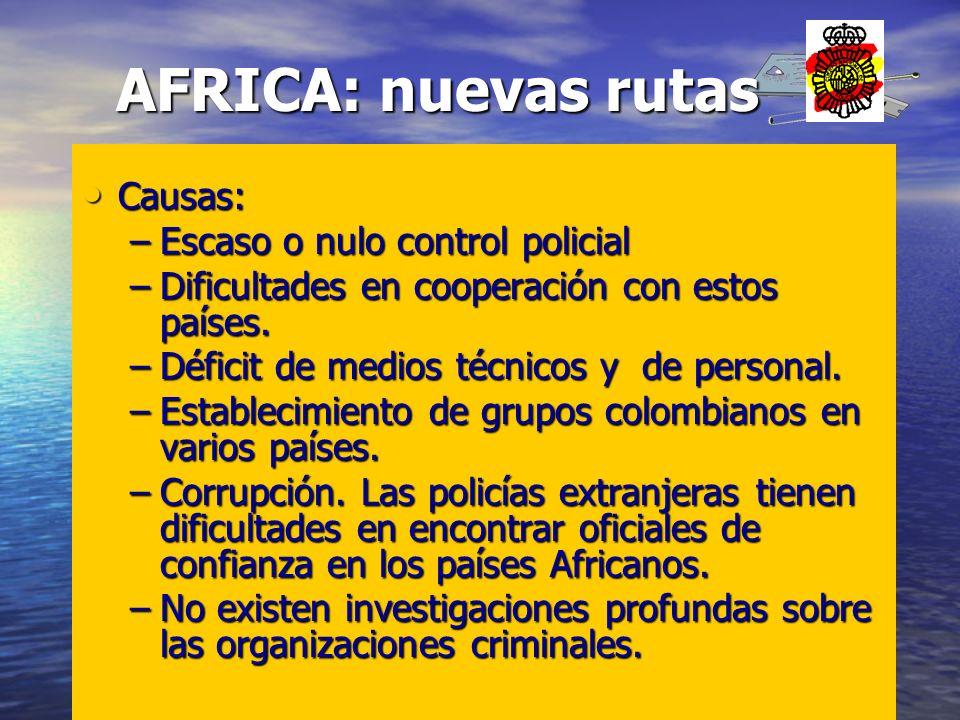 Causas: Causas: –Escaso o nulo control policial –Dificultades en cooperación con estos países. –Déficit de medios técnicos y de personal. –Establecimi