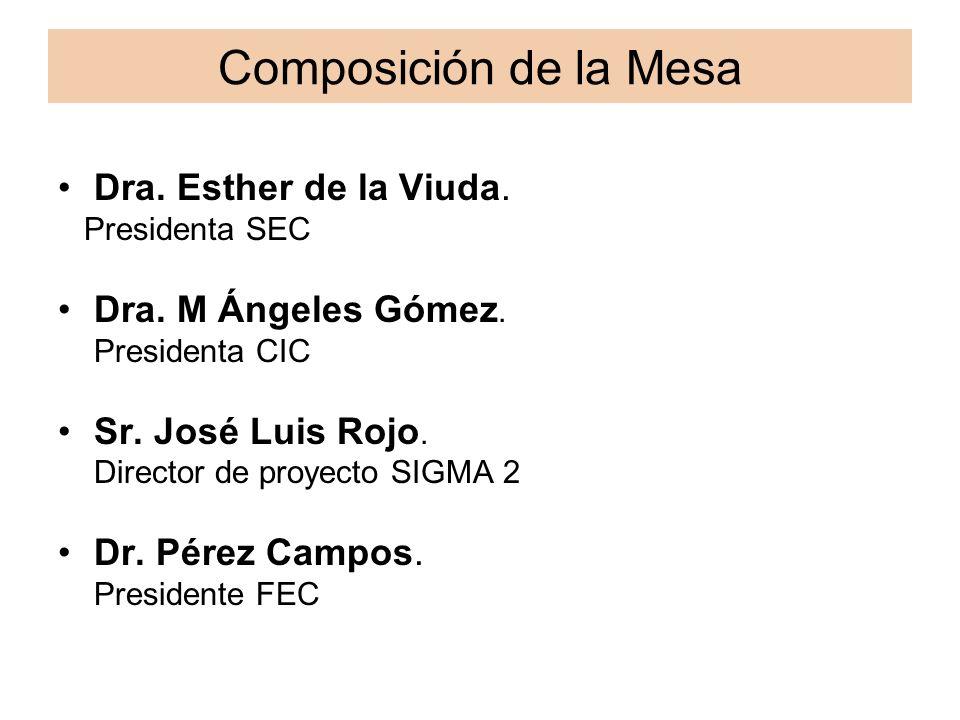 Composición de la Mesa Dra. Esther de la Viuda. Presidenta SEC Dra. M Ángeles Gómez. Presidenta CIC Sr. José Luis Rojo. Director de proyecto SIGMA 2 D