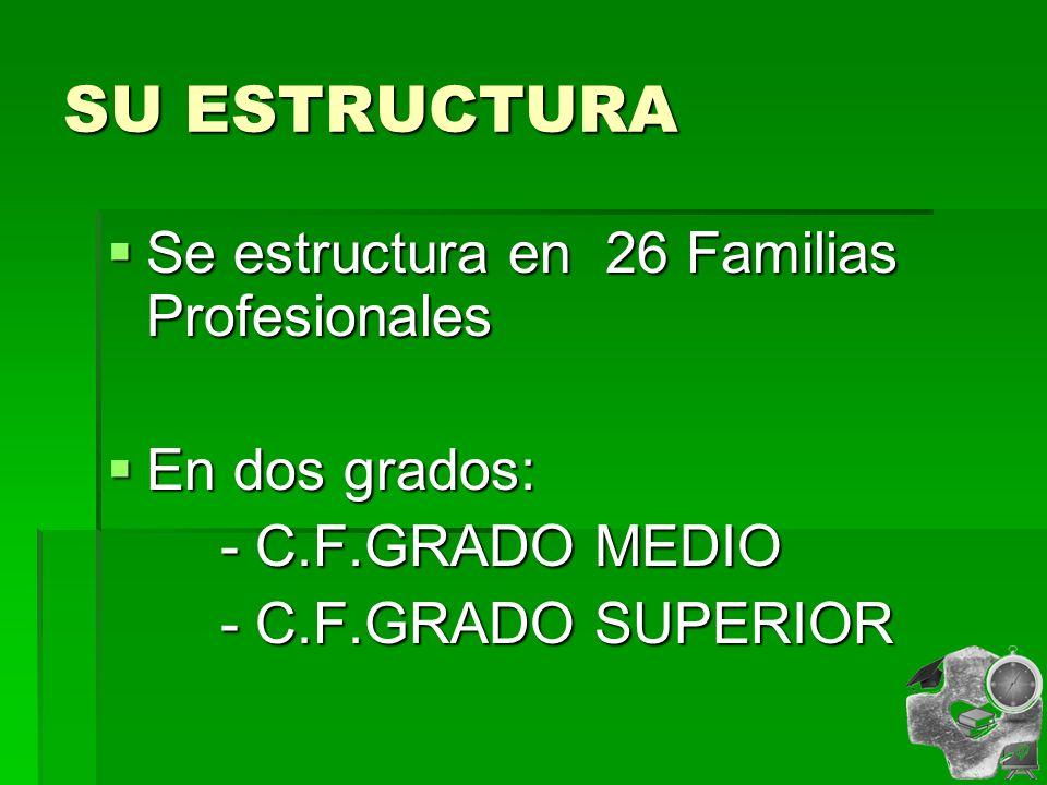 SU ESTRUCTURA Se estructura en 26 Familias Profesionales Se estructura en 26 Familias Profesionales En dos grados: En dos grados: - C.F.GRADO MEDIO - C.F.GRADO MEDIO - C.F.GRADO SUPERIOR - C.F.GRADO SUPERIOR