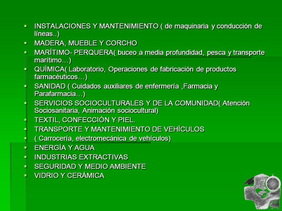INSTALACIONES Y MANTENIMIENTO ( de maquinaria y conducción de líneas..) INSTALACIONES Y MANTENIMIENTO ( de maquinaria y conducción de líneas..) MADERA, MUEBLE Y CORCHO MADERA, MUEBLE Y CORCHO MARÍTIMO- PERQUERA( buceo a media profundidad, pesca y transporte marítimo…) MARÍTIMO- PERQUERA( buceo a media profundidad, pesca y transporte marítimo…) QUÍMICA( Laboratorio, Operaciones de fabricación de productos farmacéuticos…) QUÍMICA( Laboratorio, Operaciones de fabricación de productos farmacéuticos…) SANIDAD ( Cuidados auxiliares de enfermería,Farmacia y Parafarmacia…) SANIDAD ( Cuidados auxiliares de enfermería,Farmacia y Parafarmacia…) SERVICIOS SOCIOCULTURALES Y DE LA COMUNIDAD( Atención Sociosanitaria, Animación sociocultural) SERVICIOS SOCIOCULTURALES Y DE LA COMUNIDAD( Atención Sociosanitaria, Animación sociocultural) TEXTIL, CONFECCIÓN Y PIEL.