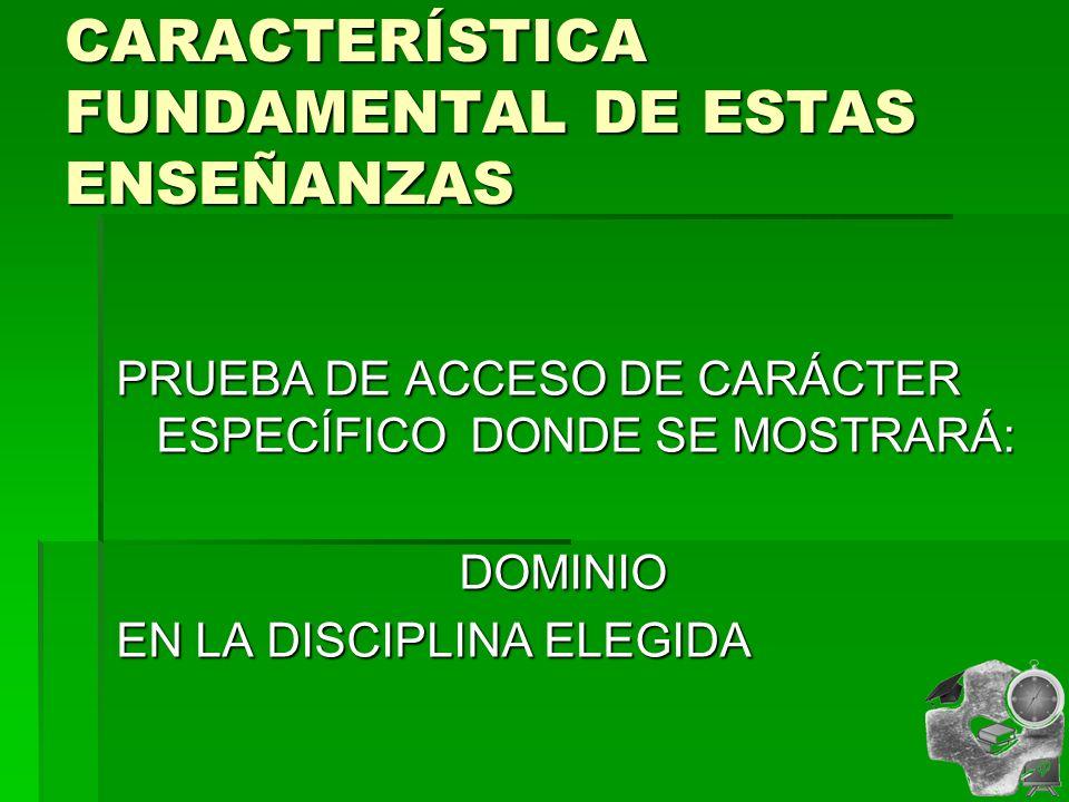 CARACTERÍSTICA FUNDAMENTAL DE ESTAS ENSEÑANZAS PRUEBA DE ACCESO DE CARÁCTER ESPECÍFICO DONDE SE MOSTRARÁ: DOMINIO DOMINIO EN LA DISCIPLINA ELEGIDA