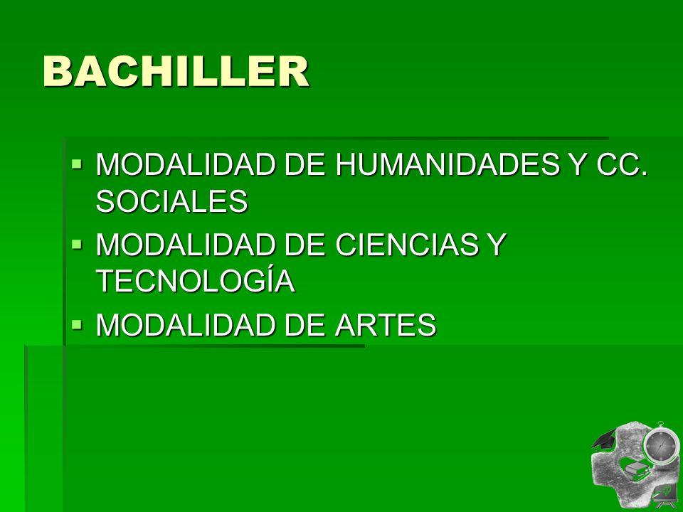BACHILLER MODALIDAD DE HUMANIDADES Y CC.SOCIALES MODALIDAD DE HUMANIDADES Y CC.