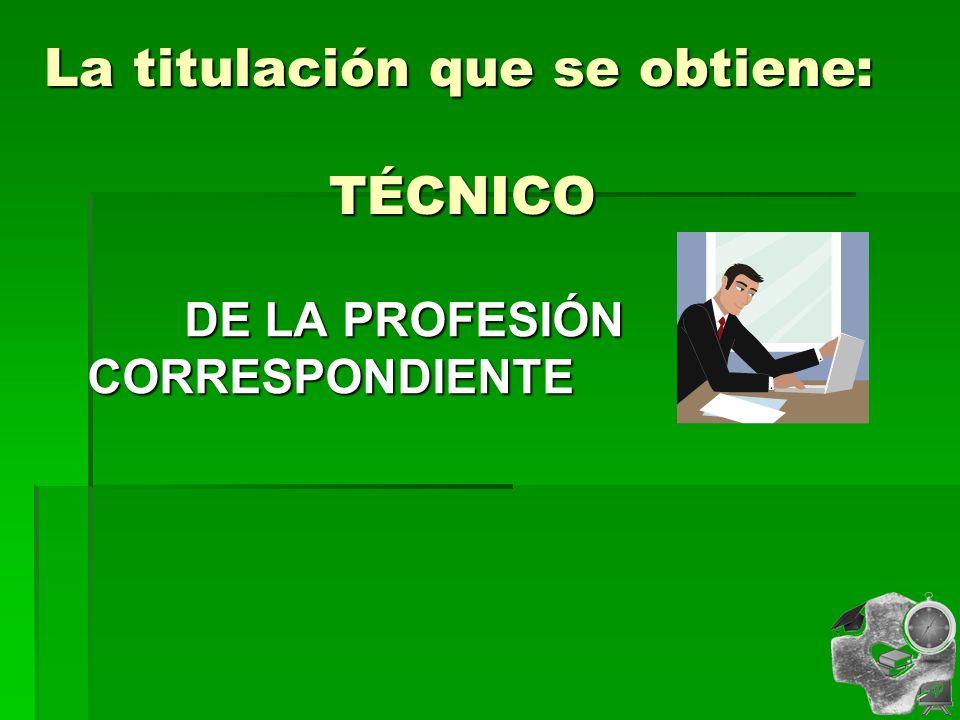 La titulación que se obtiene: TÉCNICO DE LA PROFESIÓN CORRESPONDIENTE DE LA PROFESIÓN CORRESPONDIENTE