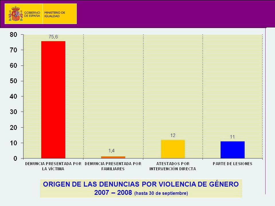 ORIGEN DE LAS DENUNCIAS POR VIOLENCIA DE GÉNERO 2007 – 2008 (hasta 30 de septiembre)