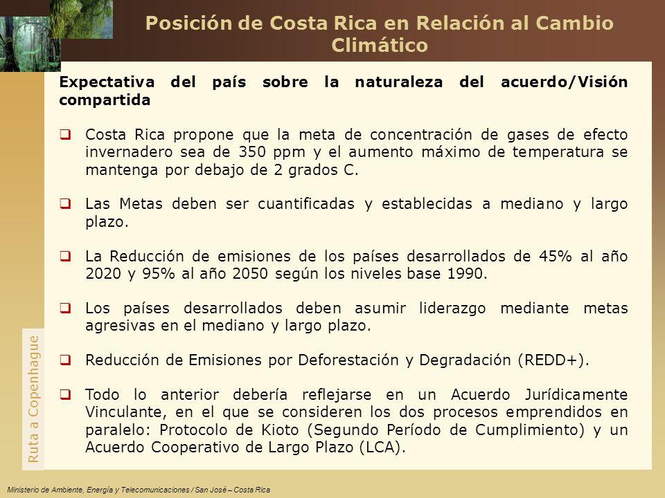 www.themegallery.com Ruta a Copenhague Ministerio de Ambiente, Energía y Telecomunicaciones / San José – Costa Rica Expectativa del país sobre la naturaleza del acuerdo/Visión compartida Costa Rica propone que la meta de concentración de gases de efecto invernadero sea de 350 ppm y el aumento máximo de temperatura se mantenga por debajo de 2 grados C.