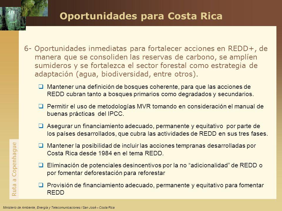 www.themegallery.com Ruta a Copenhague Ministerio de Ambiente, Energía y Telecomunicaciones / San José – Costa Rica 6- Oportunidades inmediatas para fortalecer acciones en REDD+, de manera que se consoliden las reservas de carbono, se amplíen sumideros y se fortalezca el sector forestal como estrategia de adaptación (agua, biodiversidad, entre otros).