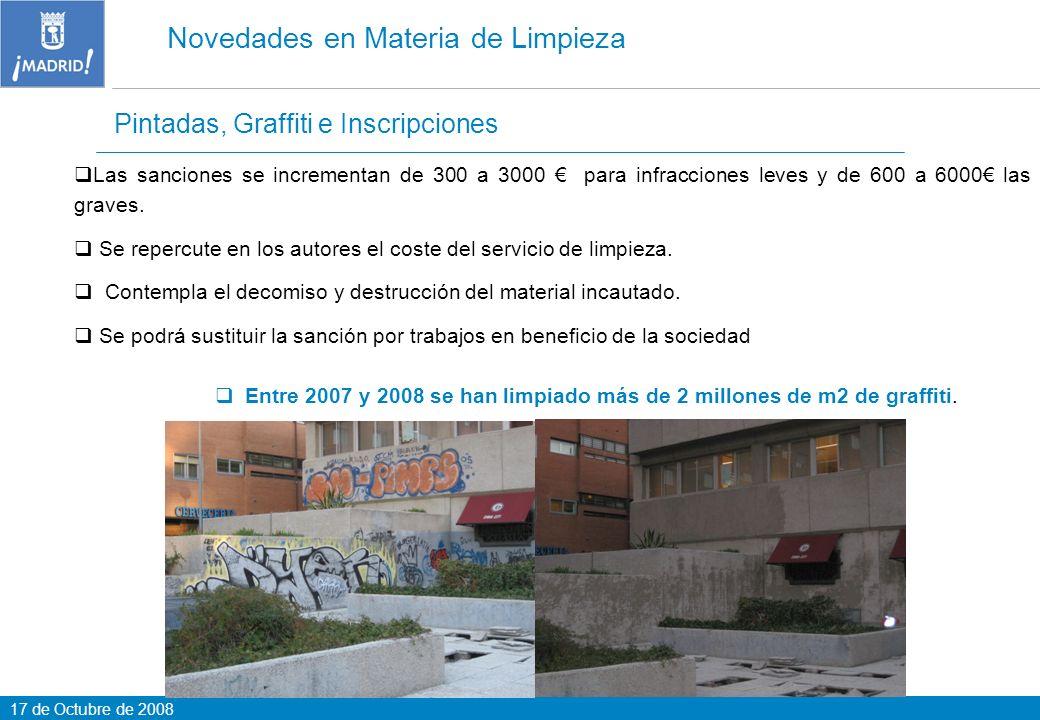 17 de Octubre de 2008 Pintadas, Graffiti e Inscripciones Novedades en Materia de Limpieza Las sanciones se incrementan de 300 a 3000 para infracciones