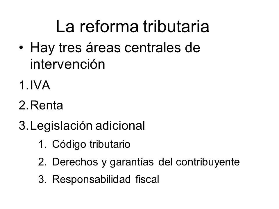 La reforma tributaria Hay tres áreas centrales de intervención 1.IVA 2.Renta 3.Legislación adicional 1.Código tributario 2.Derechos y garantías del contribuyente 3.Responsabilidad fiscal
