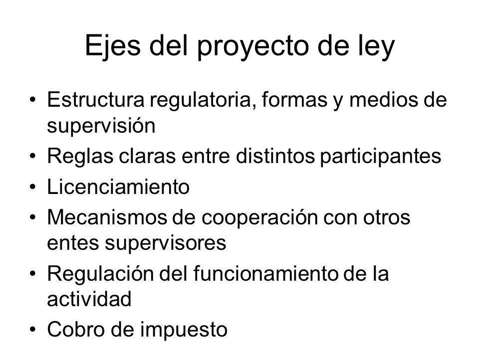 Ejes del proyecto de ley Estructura regulatoria, formas y medios de supervisión Reglas claras entre distintos participantes Licenciamiento Mecanismos de cooperación con otros entes supervisores Regulación del funcionamiento de la actividad Cobro de impuesto