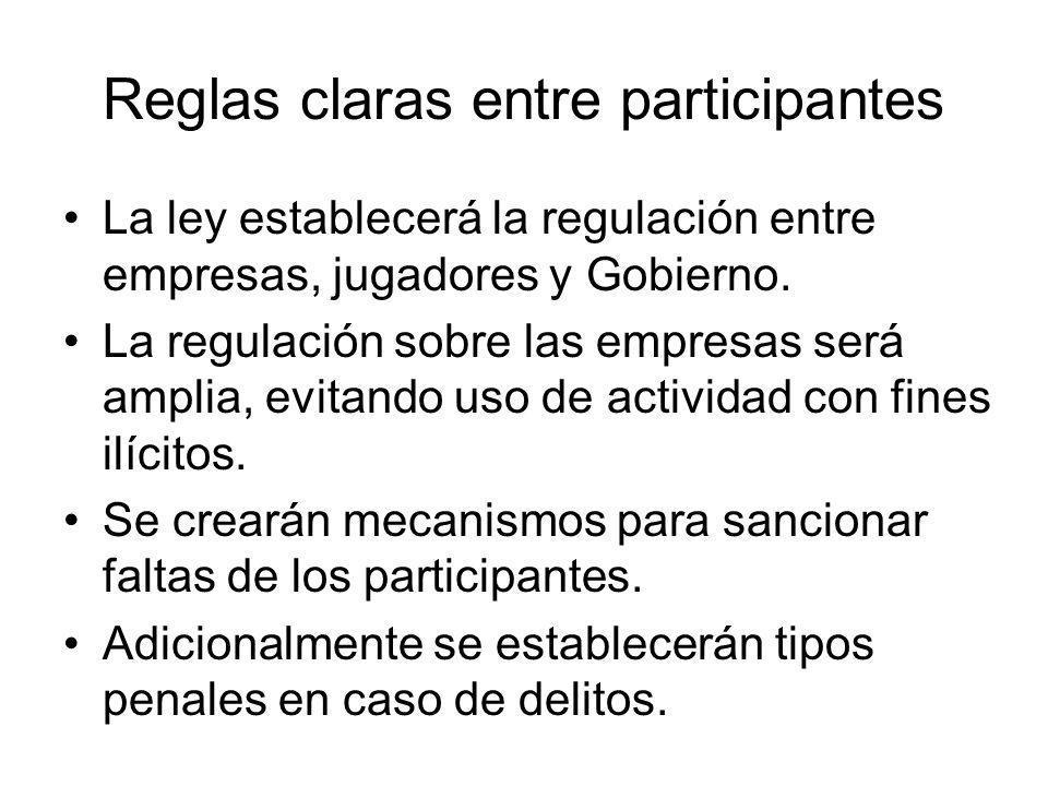 Reglas claras entre participantes La ley establecerá la regulación entre empresas, jugadores y Gobierno.