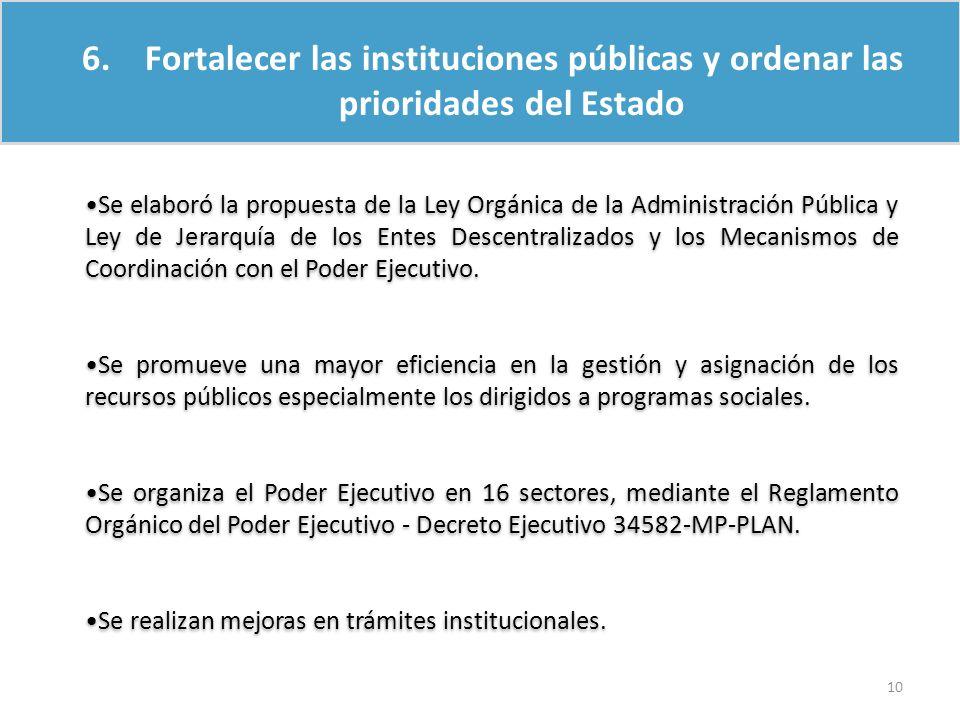 6. Fortalecer las instituciones públicas y ordenar las prioridades del Estado Se elaboró la propuesta de la Ley Orgánica de la Administración Pública