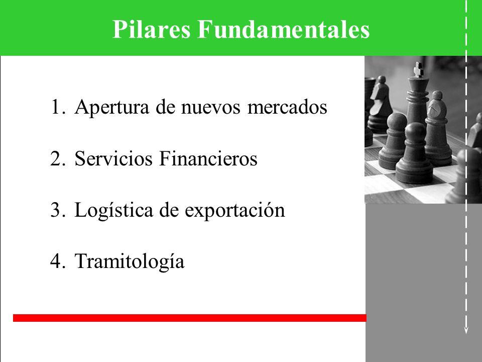 Pilares Fundamentales 1.Apertura de nuevos mercados 2.Servicios Financieros 3.Logística de exportación 4.Tramitología