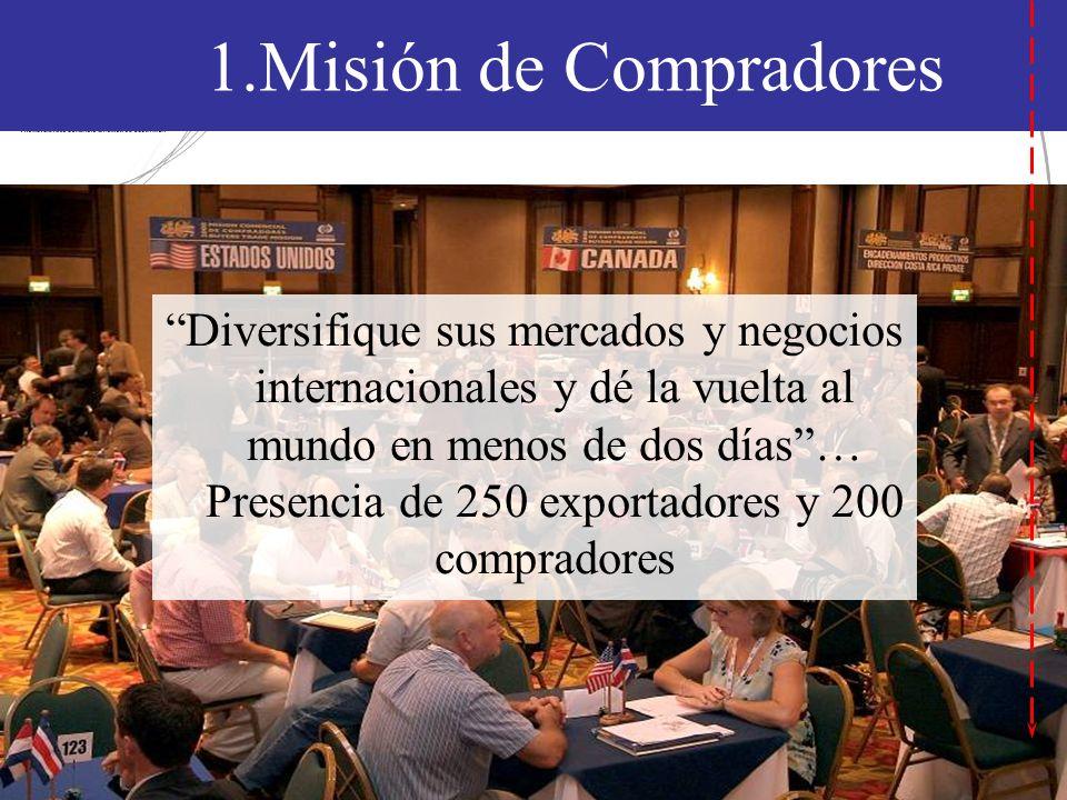 1.Misión de Compradores Diversifique sus mercados y negocios internacionales y dé la vuelta al mundo en menos de dos días… Presencia de 250 exportadores y 200 compradores