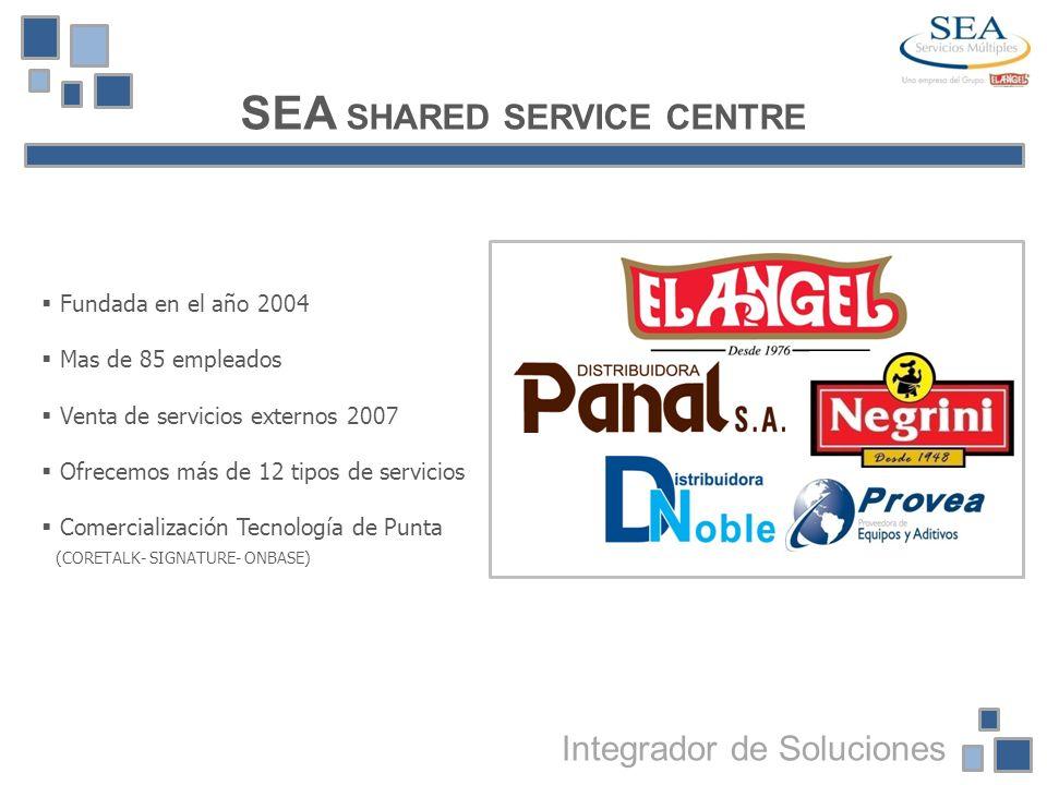 SEA SHARED SERVICE CENTRE Fundada en el año 2004 Mas de 85 empleados Venta de servicios externos 2007 Ofrecemos más de 12 tipos de servicios Comercial