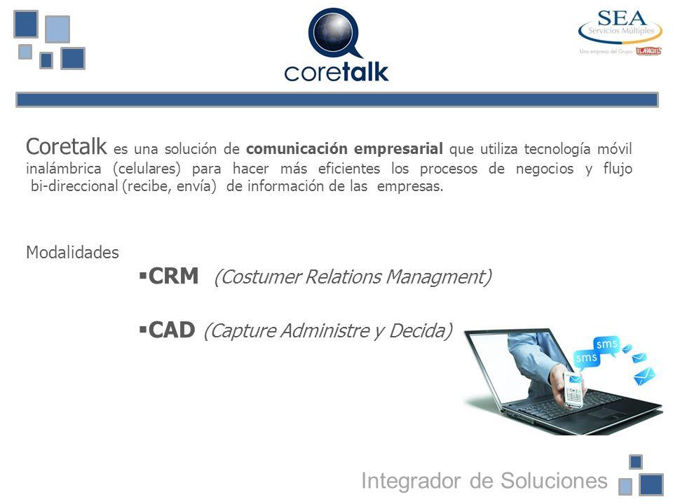 Coretalk es una solución de comunicación empresarial que utiliza tecnología móvil inalámbrica (celulares) para hacer más eficientes los procesos de ne