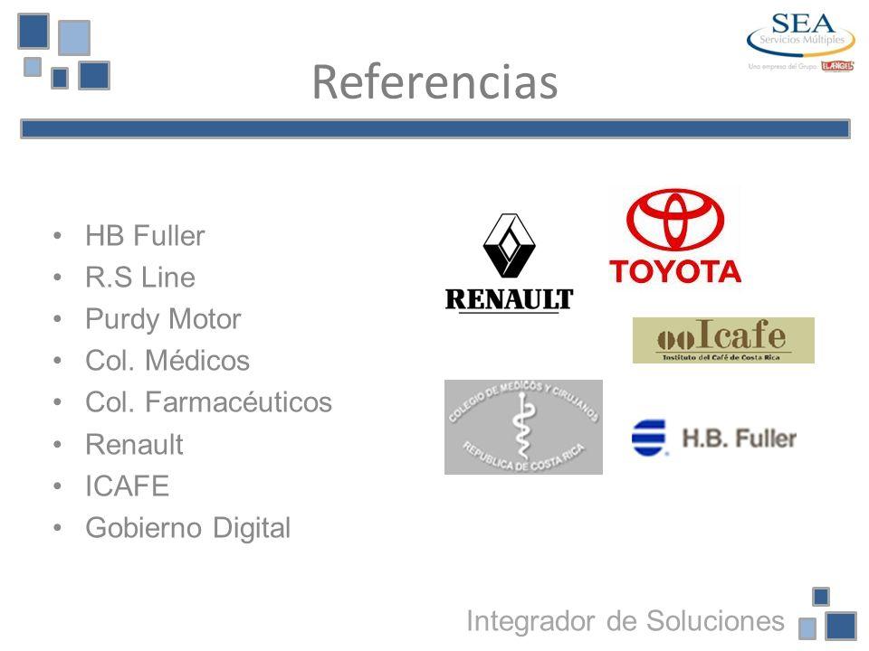 Referencias HB Fuller R.S Line Purdy Motor Col. Médicos Col. Farmacéuticos Renault ICAFE Gobierno Digital Integrador de Soluciones