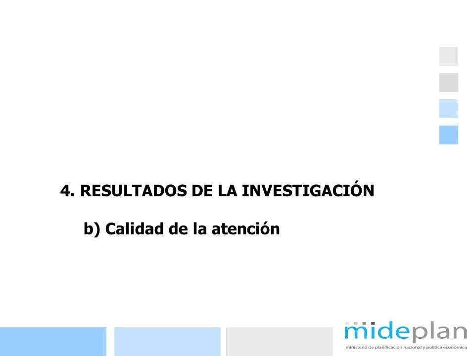 20 4. RESULTADOS DE LA INVESTIGACIÓN b) Calidad de la atención