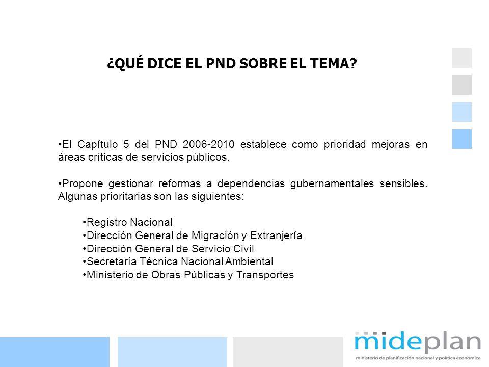 5 El Capítulo 5 del PND 2006-2010 establece como prioridad mejoras en áreas críticas de servicios públicos. Propone gestionar reformas a dependencias