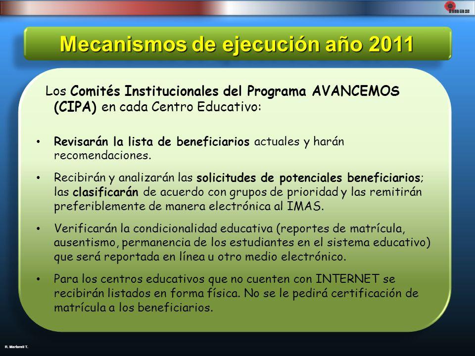 R. Martorell T. Mecanismos de ejecución año 2011 Los Comités Institucionales del Programa AVANCEMOS (CIPA) en cada Centro Educativo: Revisarán la list