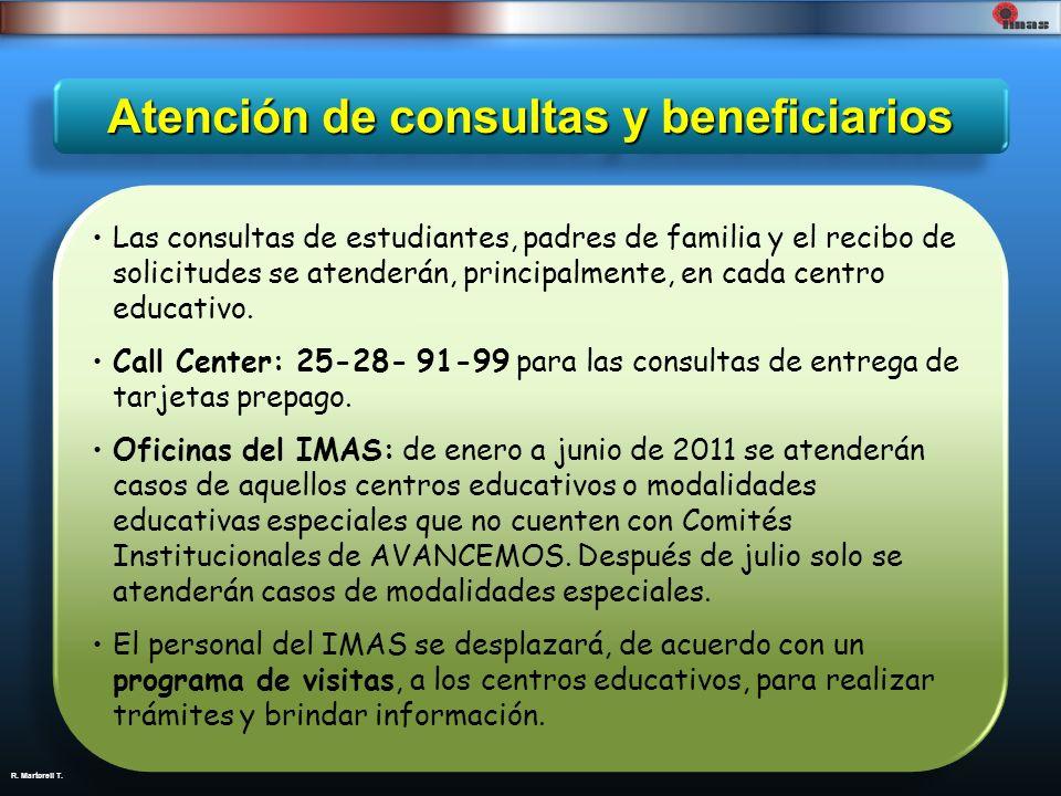 R. Martorell T. Atención de consultas y beneficiarios Las consultas de estudiantes, padres de familia y el recibo de solicitudes se atenderán, princip