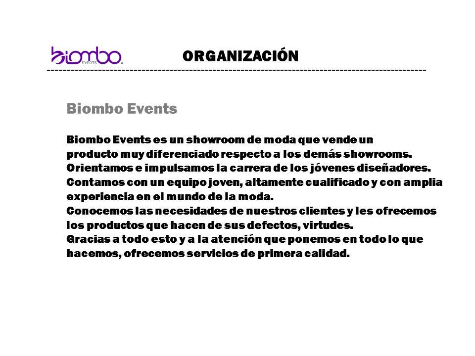 ------------------------------------------------------------------------------------------------ ORGANIZACIÓN Biombo Events Biombo Events es un showro