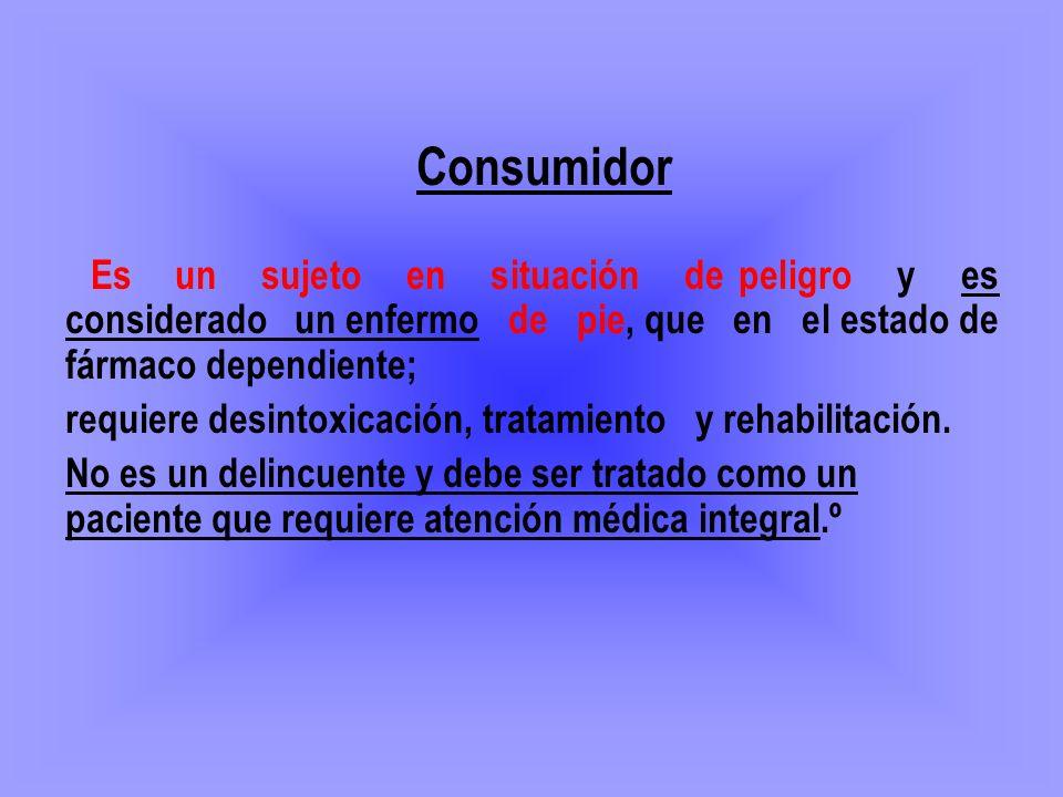 Consumidor Es un sujeto en situación de peligro y es considerado un enfermo de pie, que en el estado de fármaco dependiente; requiere desintoxicación,