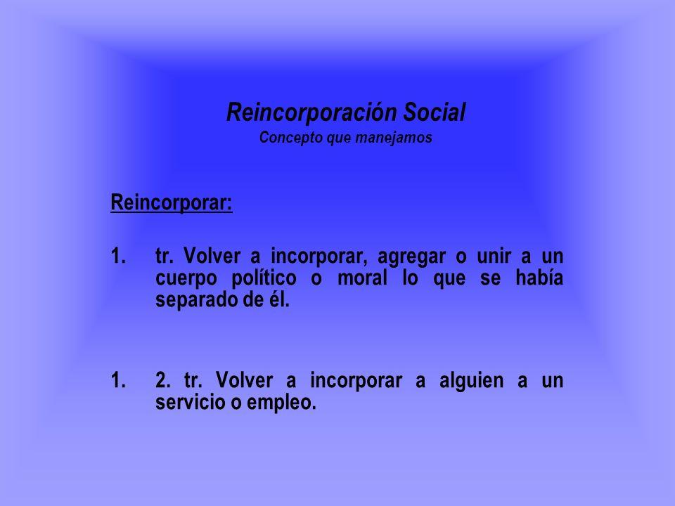 Reincorporación Social Concepto que manejamos Reincorporar: 1.tr. Volver a incorporar, agregar o unir a un cuerpo político o moral lo que se había sep