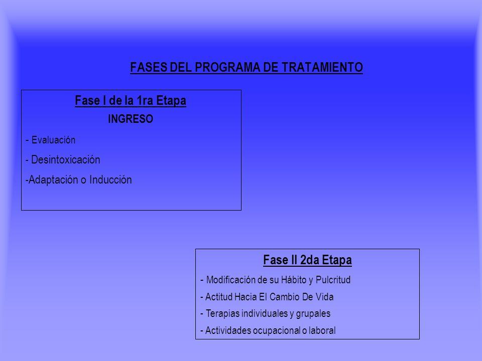 Fase I de la 1ra Etapa INGRESO - Evaluación - Desintoxicación - Adaptación o Inducción FASES DEL PROGRAMA DE TRATAMIENTO Fase II 2da Etapa - Modificac