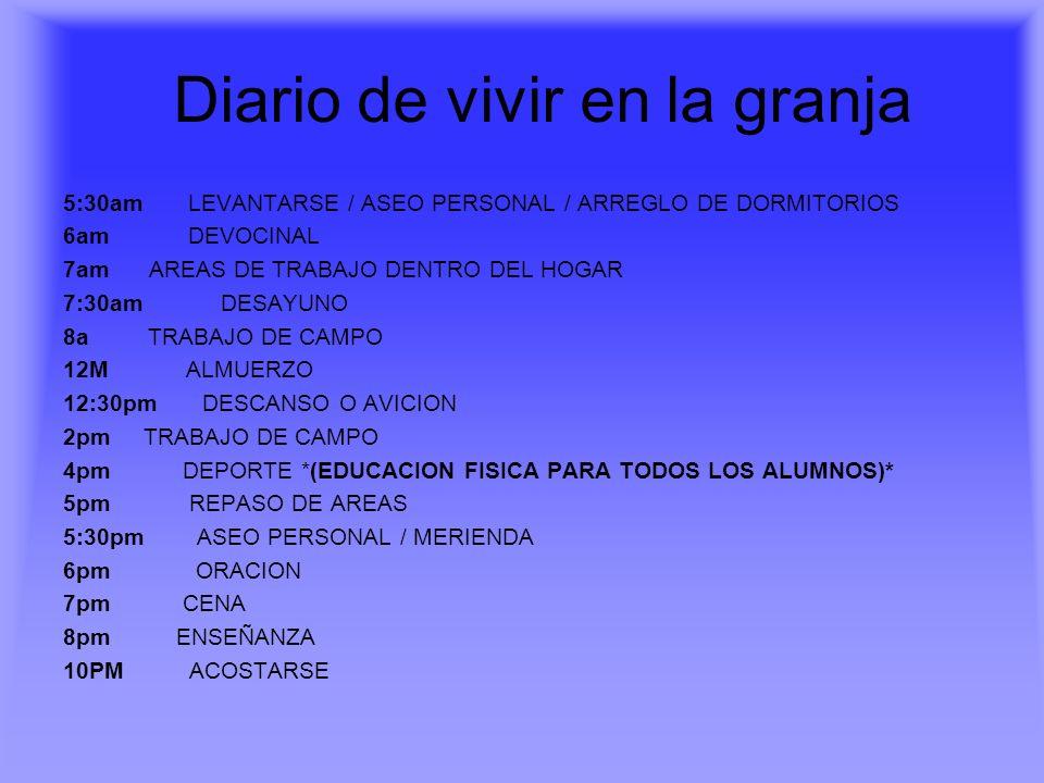 Diario de vivir en la granja 5:30am LEVANTARSE / ASEO PERSONAL / ARREGLO DE DORMITORIOS 6am DEVOCINAL 7am AREAS DE TRABAJO DENTRO DEL HOGAR 7:30am DES