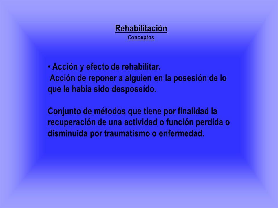 Acción y efecto de rehabilitar. Acción de reponer a alguien en la posesión de lo que le había sido desposeído. Conjunto de métodos que tiene por final