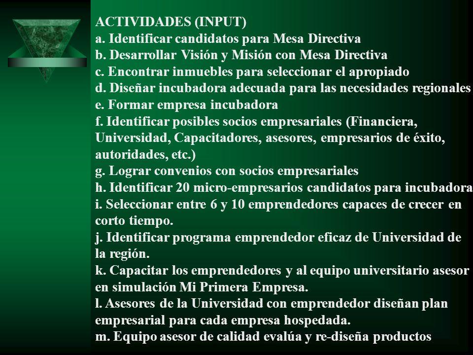 ACTIVIDADES (INPUT) a. Identificar candidatos para Mesa Directiva b. Desarrollar Visión y Misión con Mesa Directiva c. Encontrar inmuebles para selecc