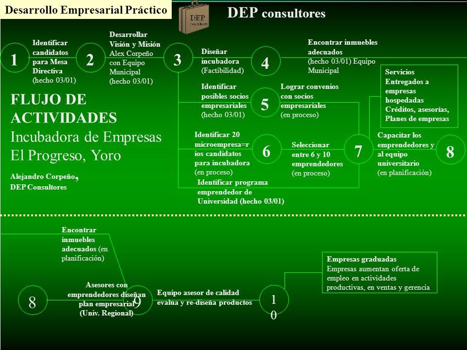 Desarrollo Empresarial Práctico DEP consultores 123 4 5 67 8 Identificar candidatos para Mesa Directiva (hecho 03/01) Desarrollar Visión y Misión Alex