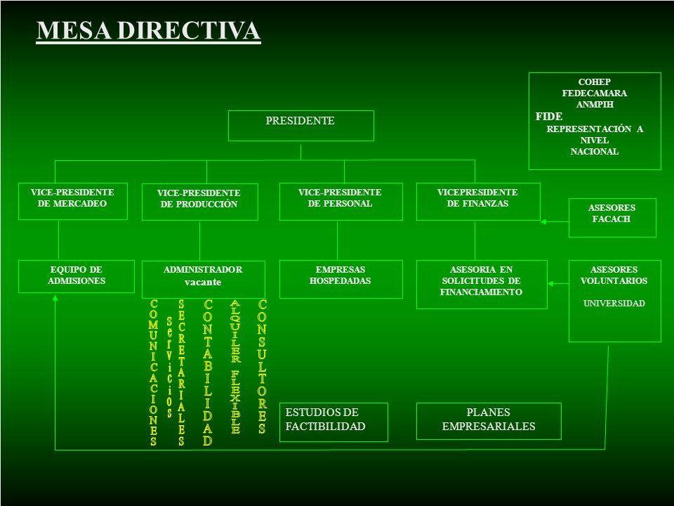 PRESIDENTE VICE-PRESIDENTE DE MERCADEO VICE-PRESIDENTE DE PRODUCCIÓN VICE-PRESIDENTE DE PERSONAL VICEPRESIDENTE DE FINANZAS ADMINISTRADOR vacante EQUI