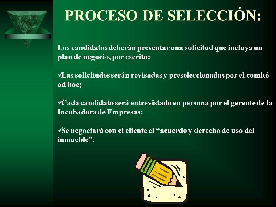 PROCESO DE SELECCIÓN: Los candidatos deberán presentar una solicitud que incluya un plan de negocio, por escrito: Las solicitudes serán revisadas y pr