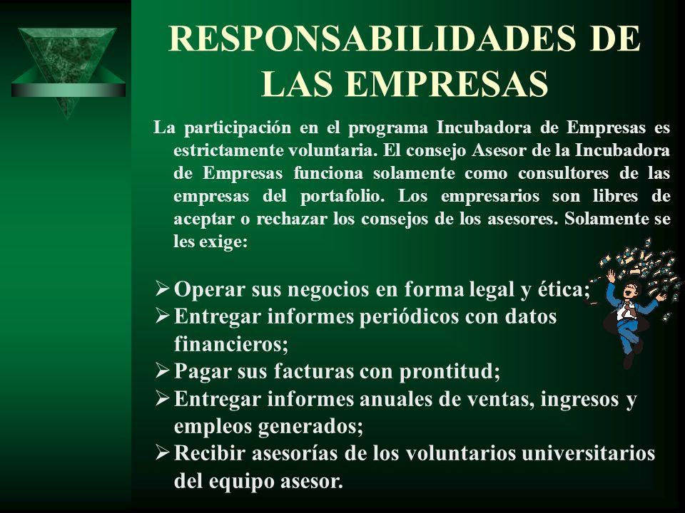 RESPONSABILIDADES DE LAS EMPRESAS La participación en el programa Incubadora de Empresas es estrictamente voluntaria. El consejo Asesor de la Incubado