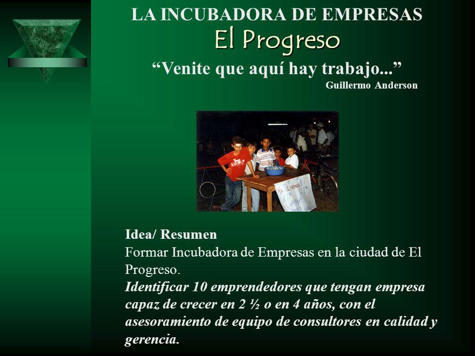 LA INCUBADORA DE EMPRESAS El Progreso Venite que aquí hay trabajo... Guillermo Anderson Idea/ Resumen Formar Incubadora de Empresas en la ciudad de El