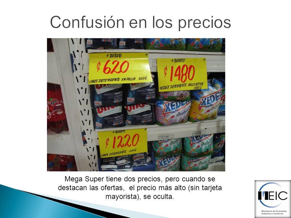 Confusión en los precios Mega Super tiene dos precios, pero cuando se destacan las ofertas, el precio más alto (sin tarjeta mayorista), se oculta.