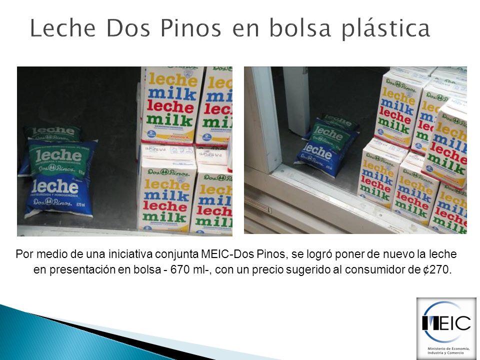 Leche Dos Pinos en bolsa plástica Por medio de una iniciativa conjunta MEIC-Dos Pinos, se logró poner de nuevo la leche en presentación en bolsa - 670