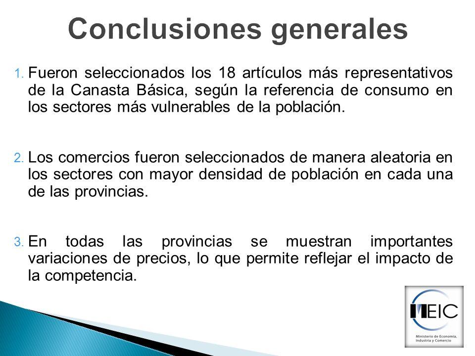 Conclusiones generales 1. Fueron seleccionados los 18 artículos más representativos de la Canasta Básica, según la referencia de consumo en los sector