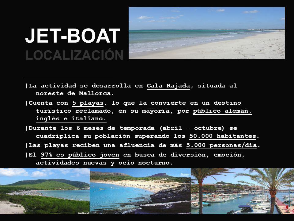 JET-BOAT LOCALIZACIÓN |La actividad se desarrolla en Cala Rajada, situada al noreste de Mallorca. |Cuenta con 5 playas, lo que la convierte en un dest