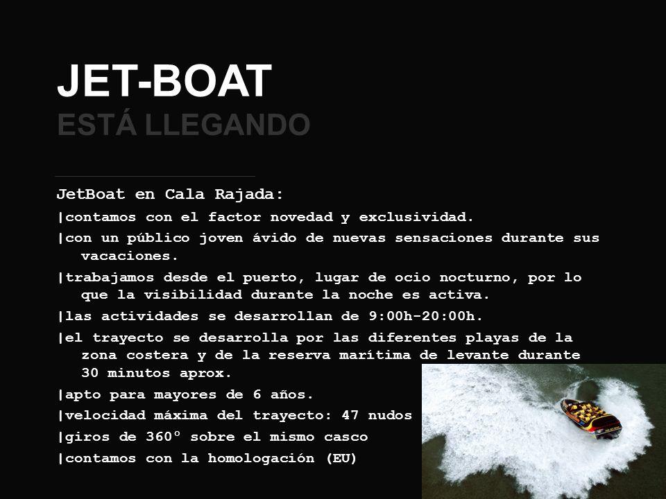 JET-BOAT ESTÁ LLEGANDO JetBoat en Cala Rajada: |contamos con el factor novedad y exclusividad. |con un público joven ávido de nuevas sensaciones duran