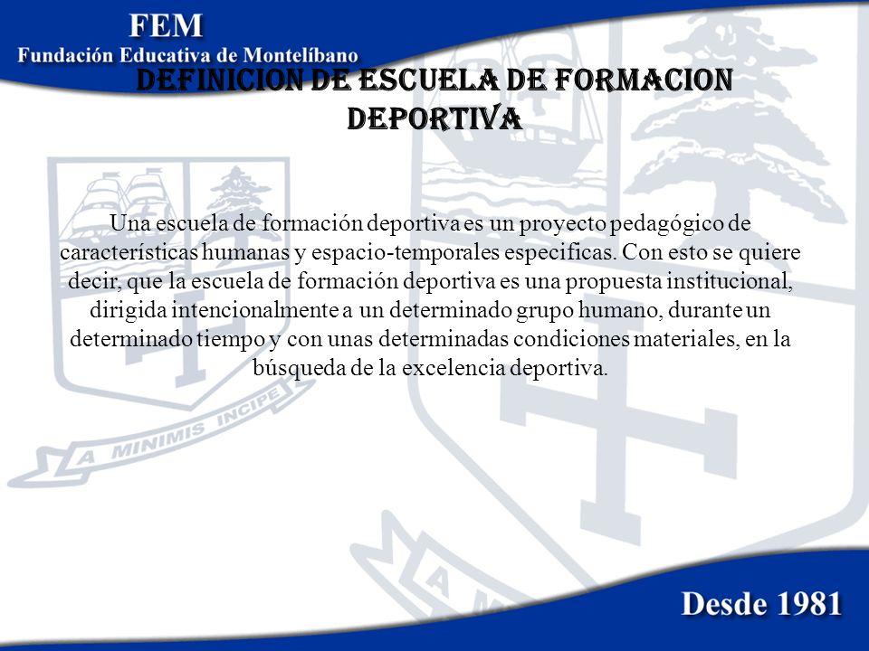 DEFINICION DE ESCUELA DE FORMACION DEPORTIVA Una escuela de formación deportiva es un proyecto pedagógico de características humanas y espacio-tempora