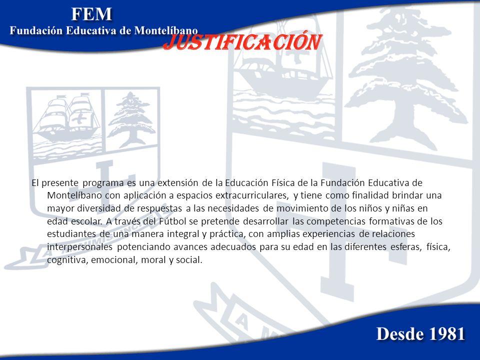 JUSTIFICACIÓN El presente programa es una extensión de la Educación Física de la Fundación Educativa de Montelíbano con aplicación a espacios extracur