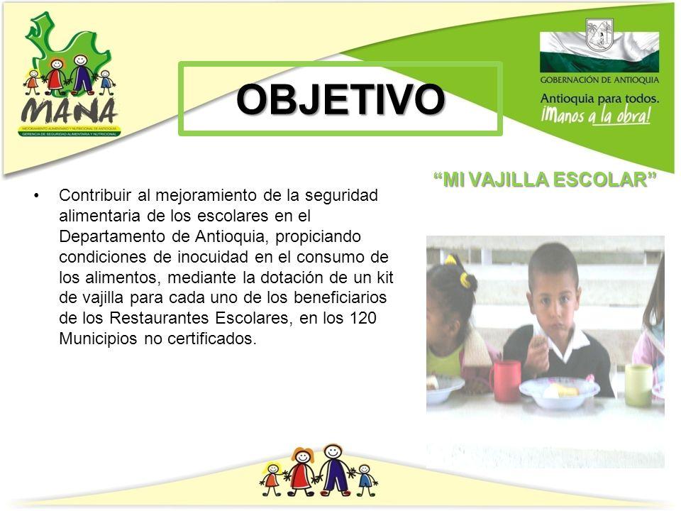 ALCANCE El proyecto está diseñado para que a partir del apoyo del sector público y privado, se puedan mejorar las condiciones en la ingesta de alimentos, facilitando a los niños y niñas los elementos mínimos para ello en cada uno de los 4083 Restaurantes Escolares ubicados en los 120 Municipios no certificados del Departamento de Antioquia.