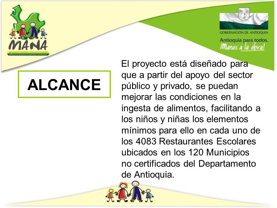 ALCANCE El proyecto está diseñado para que a partir del apoyo del sector público y privado, se puedan mejorar las condiciones en la ingesta de aliment