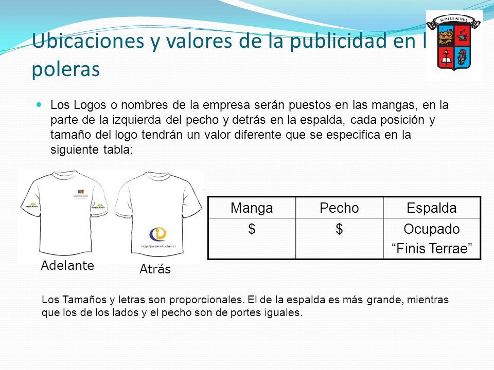 Ubicaciones y valores de la publicidad en las poleras Los Logos o nombres de la empresa serán puestos en las mangas, en la parte de la izquierda del p