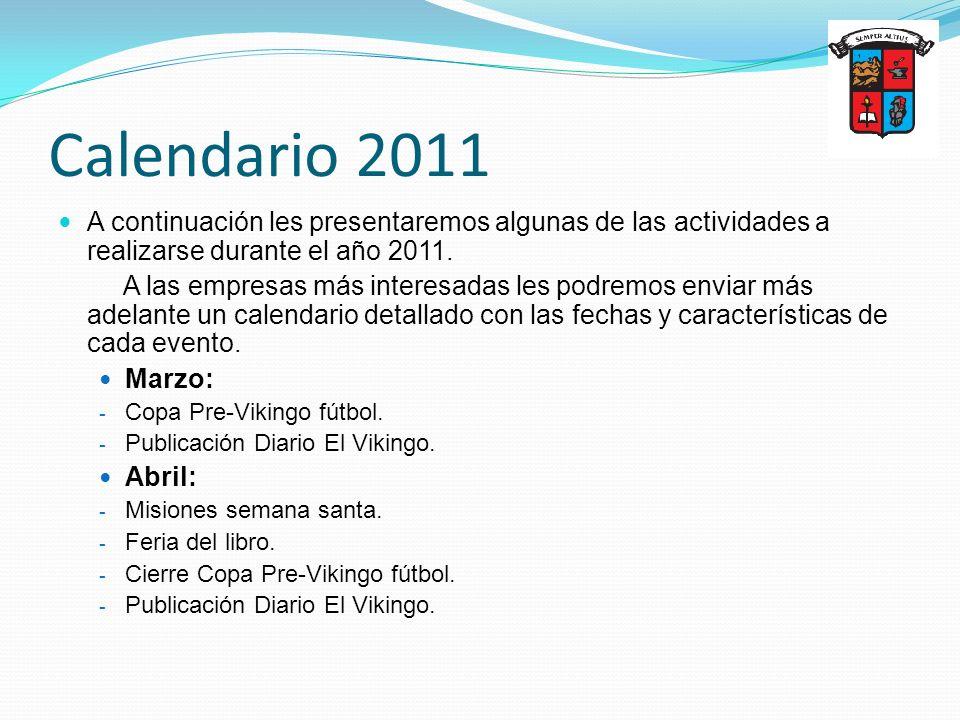 Calendario 2011 A continuación les presentaremos algunas de las actividades a realizarse durante el año 2011. A las empresas más interesadas les podre