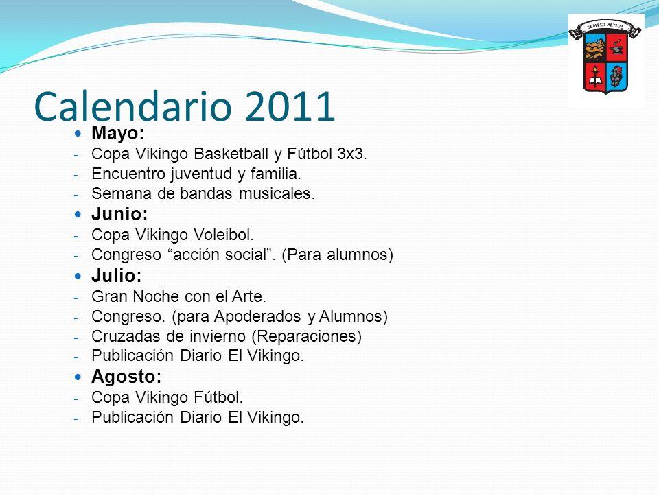 Calendario 2011 Mayo: - Copa Vikingo Basketball y Fútbol 3x3. - Encuentro juventud y familia. - Semana de bandas musicales. Junio: - Copa Vikingo Vole