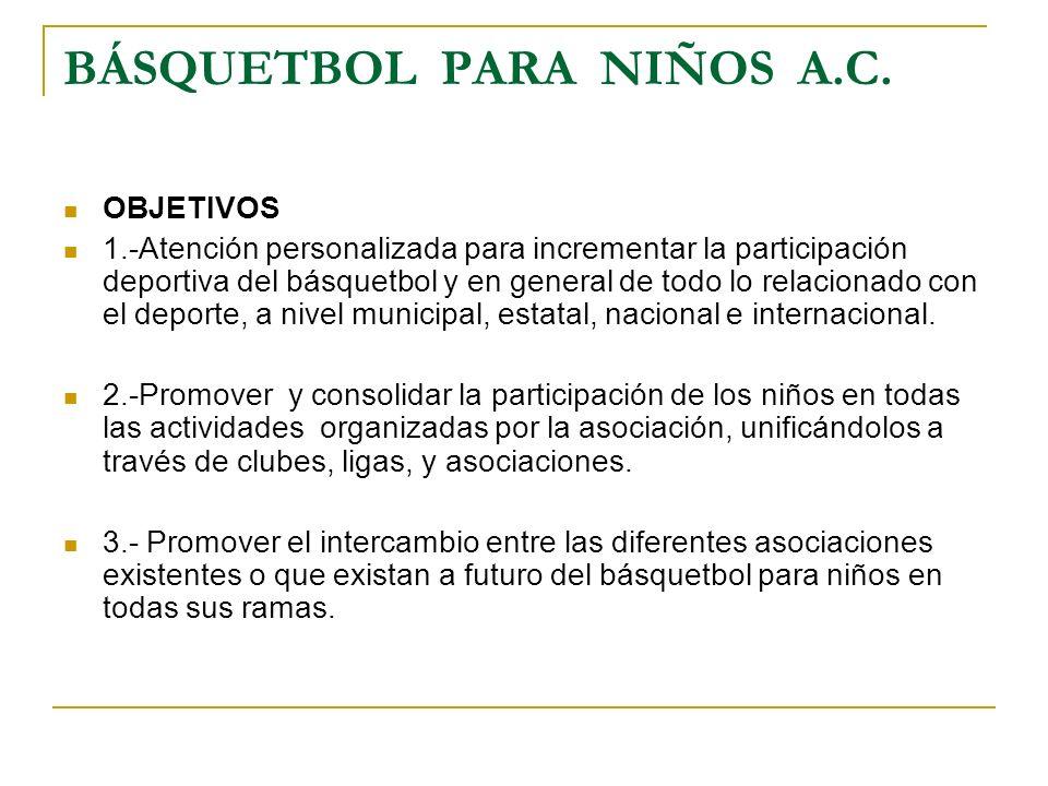 BÁSQUETBOL PARA NIÑOS A.C. OBJETIVOS 1.-Atención personalizada para incrementar la participación deportiva del básquetbol y en general de todo lo rela